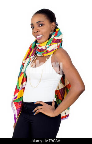 Portrait of a smiling young woman presenting an African fashion. - Stock Image