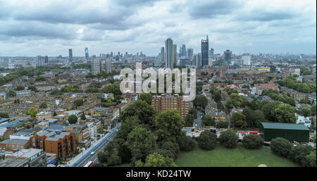 Aerial view of the skyline of the City of London from the South - Stock Image