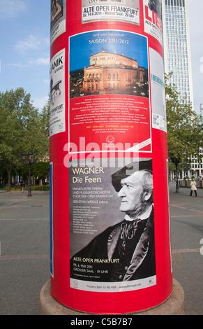 Frankfurt billboard advertising Opera at Alte Oper Old Opera House Frankfurt - Stock Image
