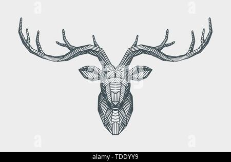 Abstract low poly triangle deer head. Decorative reindeer. Animal vector illustration - Stock Image