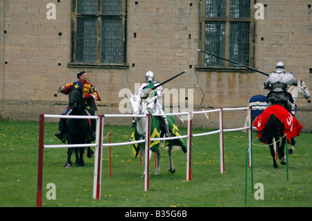 2 knights jousting - Stock Image