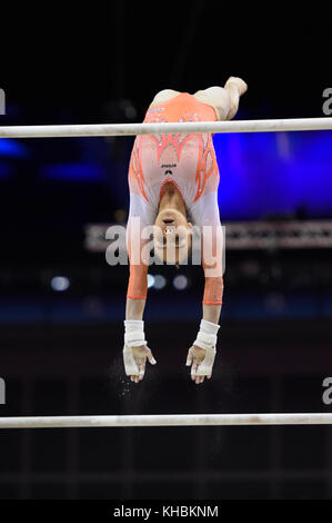 2017 WORLD CUP OF GYMNASTICS. The O2 Arena.Saturday, April 8, 2017. Women's Competition .Tabea ALT (GER) - Stock Image