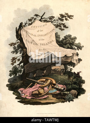 Title page for the Costume of the original inhabitants of the British Islands by MEYRICK, Samuel Rush & SMITH Charles Hamilton - Stock Image
