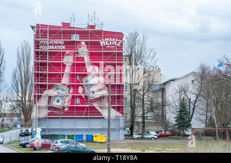 Heinz ketchup advertising painted on the big wall. Wroclaw, Poland, - Stock Image