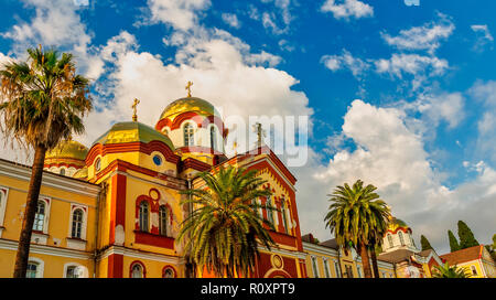 NEW ATHOS, ABKHAZIA - OCTOBER 10, 2015: new Athos monastery of St. Simon the Canaanite monastery in the sunshine in OCTOBER 10, 2015, New Athos, Abkha - Stock Image