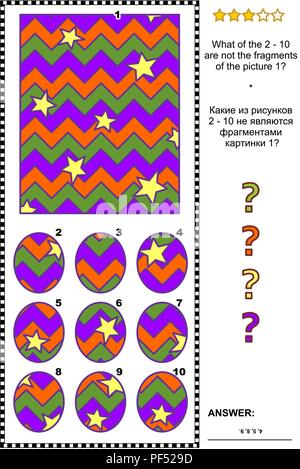 Halloween themed IQ training abstract visual puzzle: What of the 2 - 10 are not the fragments of the picture 1? Answer included. - Stock Image