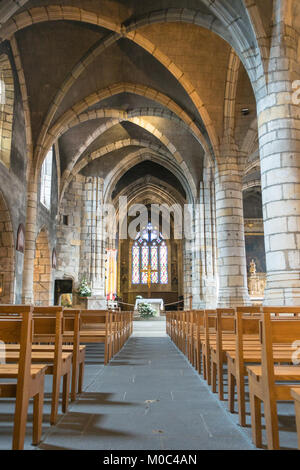 Interior of church Notre-Dame de Montlucon, Allier, Auvergne, France - Stock Image