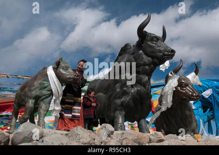 Model yaks decorate a high-altitude roadside halt at Mila Pass, 5013m, on Highway 318 east of Lhasa, Tibet, China - Stock Image