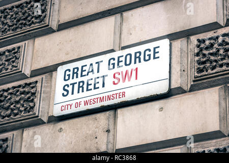 great george street,sw1,street sign,london,england,uk - Stock Image