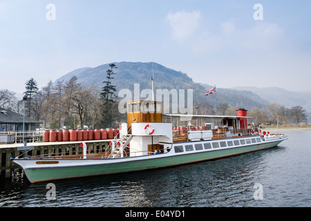 Old Steamer 'Raven' at Pier Head for Ullswater Steamers in Lake District National Park Glenridding Cumbria England UK Britain - Stock Image