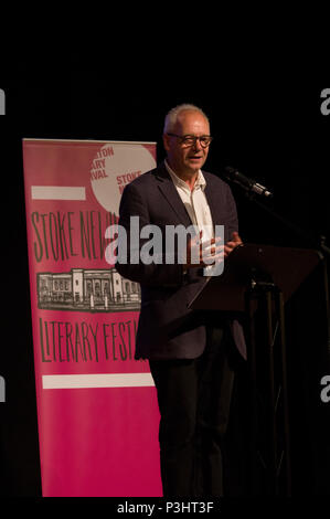 John O'Farrell reading from his book Things Can Only Get Worse at the 2018 Stoke Newington Literary Festival in Hackney, East London - Stock Image