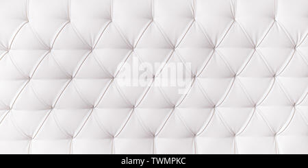 Long white upholstery close up. Texture and background - Stock Image