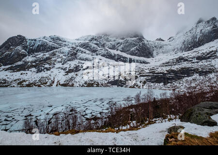 Close up of frozen ice on Storvatnet, Indre Fosen, Trondelag, Norway - Stock Image