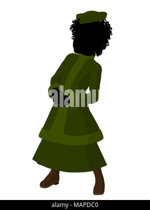 African american victorian girl art illustration silhouette on a white background - Stock Image