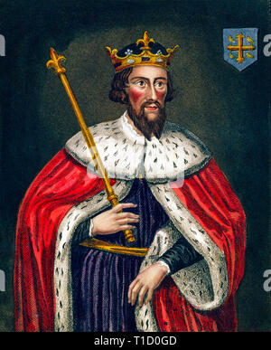King Alfred the Great (849-99) portrait, 19th Century engraving after a painting housed in the Bodleian Gallery - Stock Image