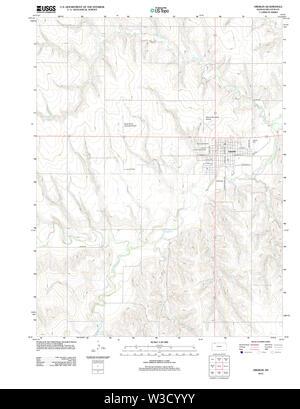 USGS TOPO Map Kansas KS Oberlin 20120905 TM Restoration - Stock Image