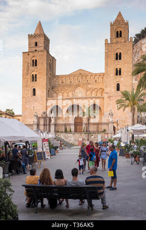 UNESCO World Heritage Site Cathedral church, Duomo basilica, Norman style architecture, in Cefalu, Northern Sicily, Italy - Stock Image