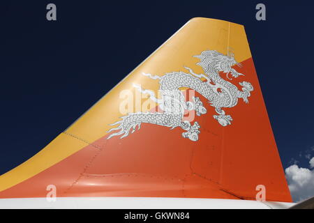 Bhutan, Paro, Plane of Druk Air - Stock Image
