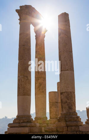 Remains of the Temple of Hercules on the Citadel, Amman, Jordan - Stock Image