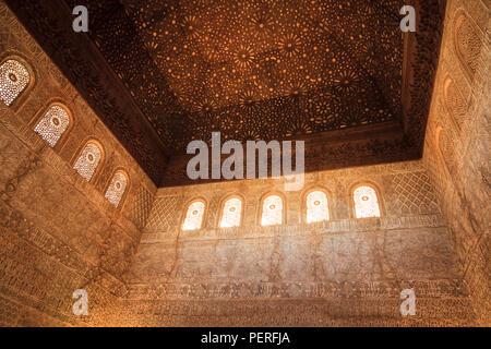 ornate decorative moorish architecture at the Alhambra palace in granada Spain - Stock Image