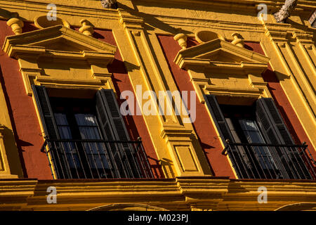 MALAGA, ANDALUSIA / SPAIN - OCTOBER 05 2017: BLACK WINDOW FRAMES ON YELLOW WALL - Stock Image