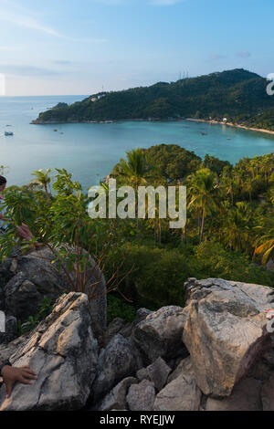 Ko Tao island view of Shark bay from the high rocky hill, Thailand - Stock Image