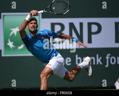 March 20, 2016: Novak Djokovic in action as he beats Milos Raonic of Canada in the ATP Singles Final during the - Stock Image