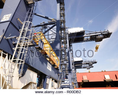 Low angle view of crane at Port of Felixstowe, England - Stock Image