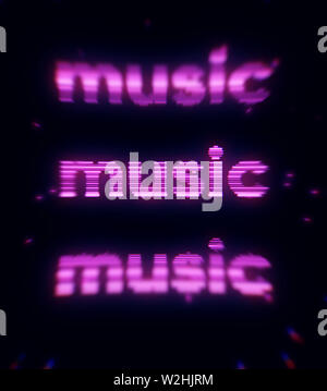 Abstract illustration of purple word music on black background. Print. Lilac neon inscription music glowing in the dark. - Stock Image