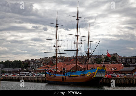 Full sized replica of Captain Cook's Endeavour, Whitby, Yorkshire, England, UK - Stock Image