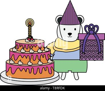 cute polar bear with gift and cake in party celebration vector illustration design - Stock Image