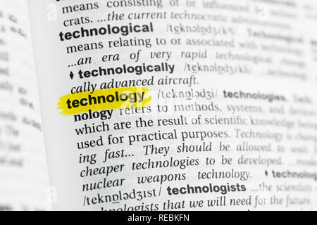 Highlighted English word 'technology' and its definition at the dictionary. - Stock Image