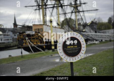 Educational installation explaining semaphore flags. Salem Maritime National Historic Site, Salem, Massachusetts - Stock Image