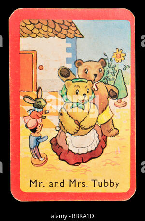 Card from a Noddy snap card game (1955)  - Mr and Mrs Tubby - Stock Image