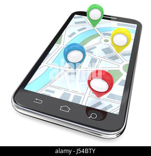 Smartphone with GPS pointers on Screen Display Map. Top View. 3D render. - Stock Image