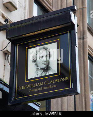 A hanging pub sign outside the William Gladstone public house in central Liverpool May 2018 - Stock Image