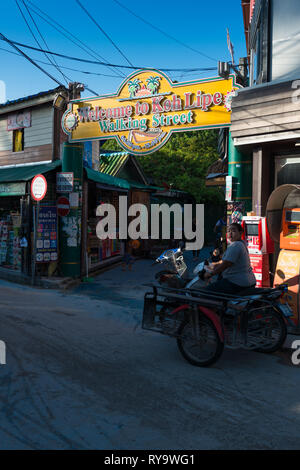 Walking street beginning with Welcome sign, Koh Lipe, Thailand - Stock Image