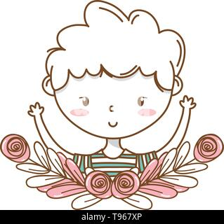 Stylish boy blushing cartoon outfit stripped tshirt portrait  floral wreath frame vector illustration graphic design - Stock Image