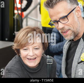 London, UK. 23rd Mar, 2019. Delia Smith, television chef and author with Richard Bacon, broadcaster, at the People's Vote March and rally, 'Put it to the People.' Credit: Prixpics/Alamy Live News - Stock Image
