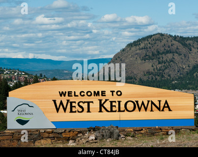 Welcome to West Kelowna sign in Canada - Stock Image