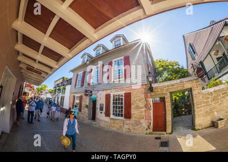 Tourists on historic St George Street in downtown St Augustine Florida Americas oldest city - Stock Image