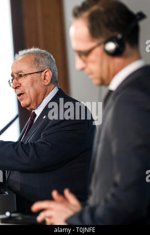 Berlin, Germany. 20th Mar, 2019. Heiko Maas (SPD), Federal Foreign Minister (r), and Ramtane Lamamra, Deputy Prime Minister and Foreign Minister of Algeria, speak at a joint press conference. Credit: Carsten Koall/dpa/Alamy Live News - Stock Image