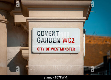 Covent Garden Street Sign, Covent Garden has been the home of Street Performers since the 17th century. - Stock Image
