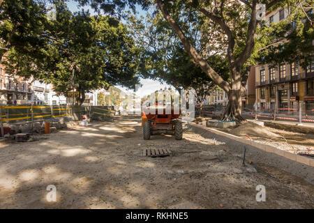Malaga Spain. Malaga city center under construction.part of La Alameda Principal pedestrianised, Andalusia, Spain. - Stock Image