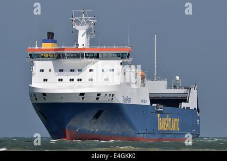 Swedish RoRo-Ferry passing Travemünde bound for Lübeck - Stock Image