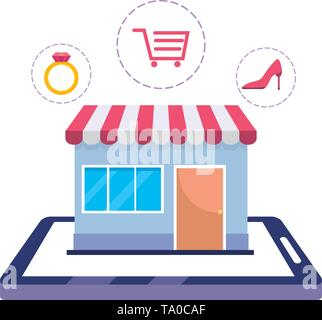 Tablet design, Store shopping online ecommerce media market and internet theme Vector illustration - Stock Image