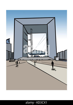 Illustration of La Grande Arche de la DŽfense in Paris, France - Stock Image
