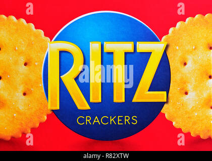 Ritz Crackers Logo on a Box, Close Up - Stock Image