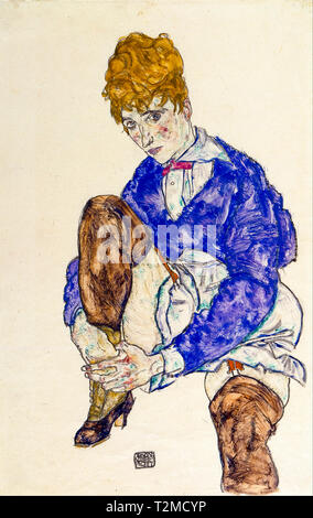 Egon Schiele, Portrait of the Artist's Wife Seated, Holding Her Right Leg, 1917 - Stock Image