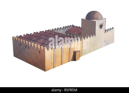 Badajoz, Spain - July 23th, 2018: Great Mosque of Badajoz. Hypothetical depiction, today disappeared. Badajoz, Spain - Stock Image